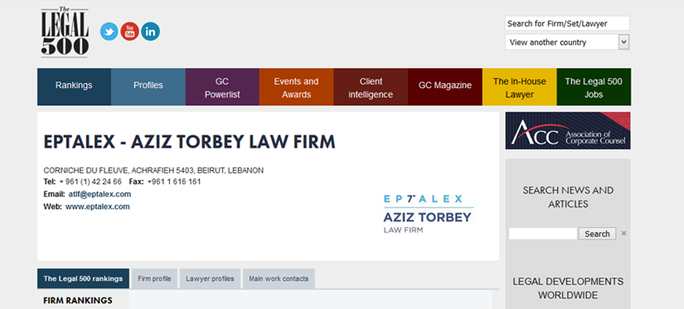Eptalex ATLF Achieves another Legal 500 EMEA Ranking